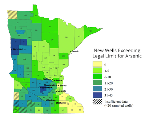 A map of Minnesota that shows the two areas in the state where the highest levels of arsenic are being found.